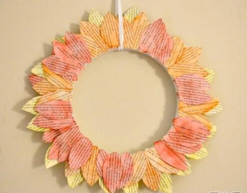手工制作可爱向日葵花环
