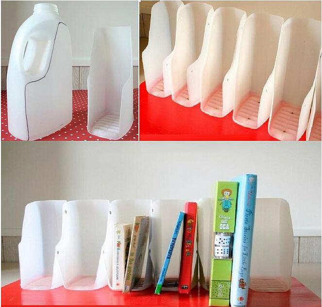 酸奶塑料瓶手工改造成漂亮的书架