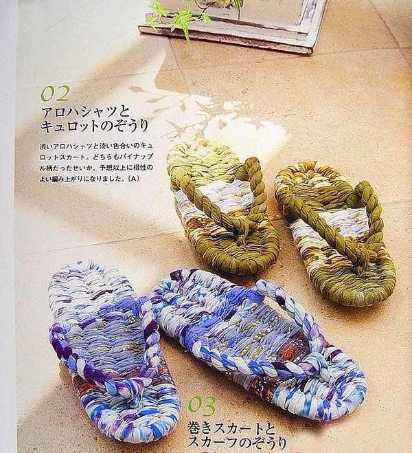 家里的旧衣服的用途改造创意编织拖鞋