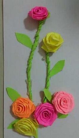 彩色纸条制作精美玫瑰花