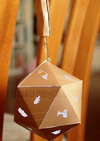 漂亮的月饼包装袋怎么做环保纸皮灯笼挂饰