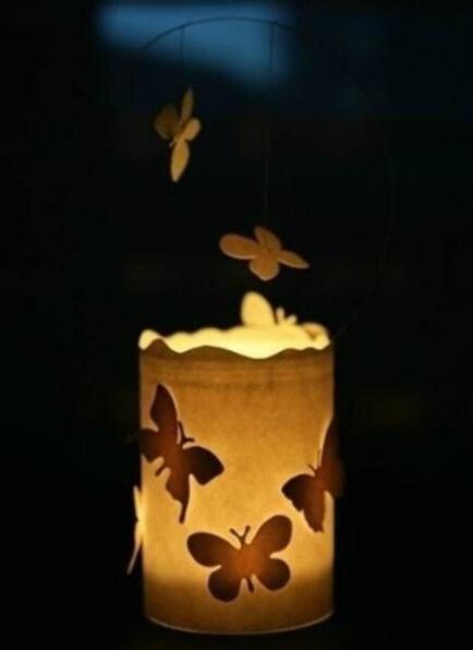玻璃瓶DIY浪漫唯美蝴蝶小烛灯