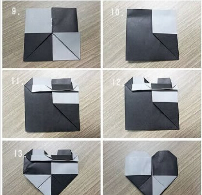 双色桃心形折纸图解与折法教程