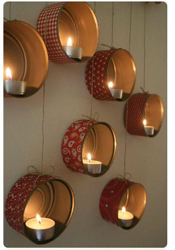 糖果铁盒、铁桶、铁罐废物利用——镶在墙上的烛台