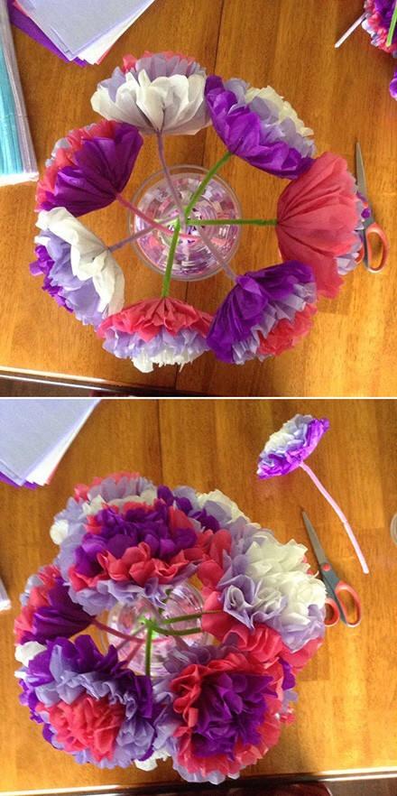 用彩纸做一束花