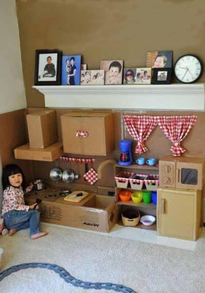聪明妈妈都会留下纸盒、包装盒为女儿打造一个小天地