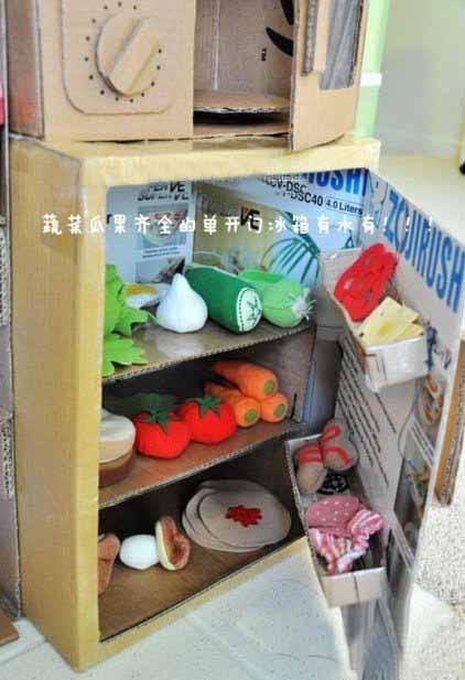废旧纸盒做儿童家电厨具