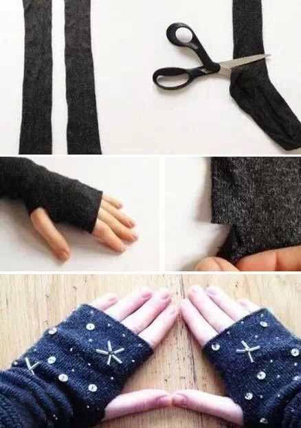 长筒袜改造成手套